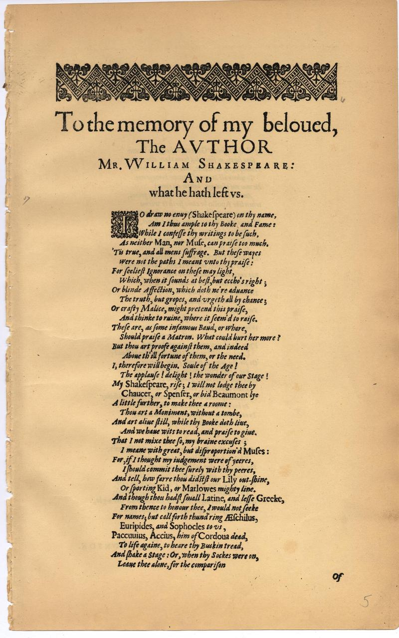 Image of First Folio (Brandeis University), page 9