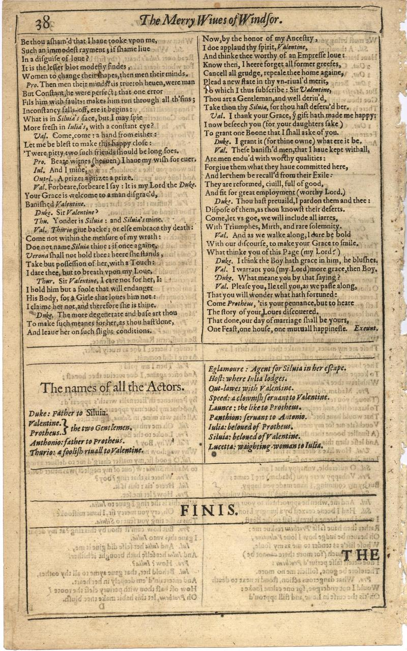 Image of First Folio (Brandeis University), page 56