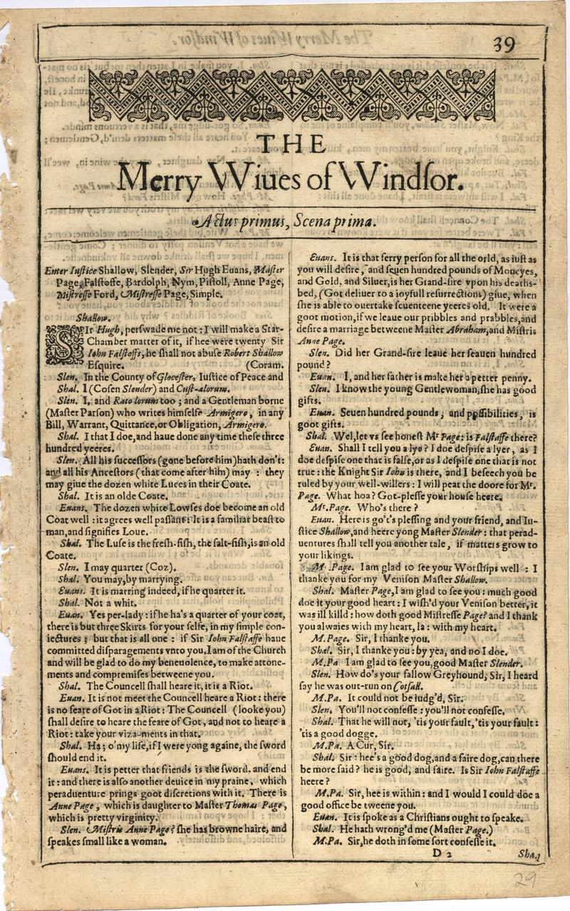 Image of First Folio (Brandeis University), page 57