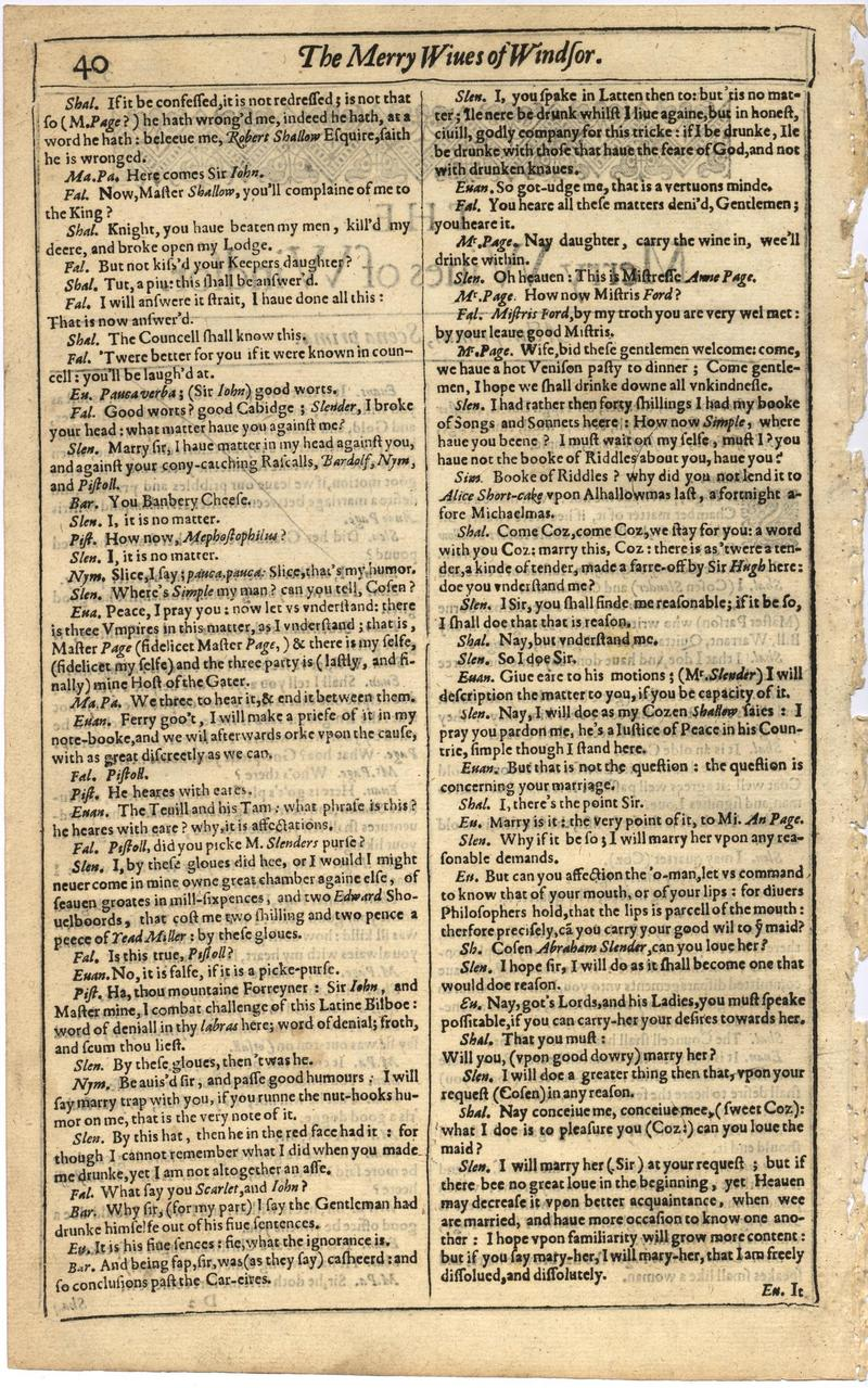 Image of First Folio (Brandeis University), page 58