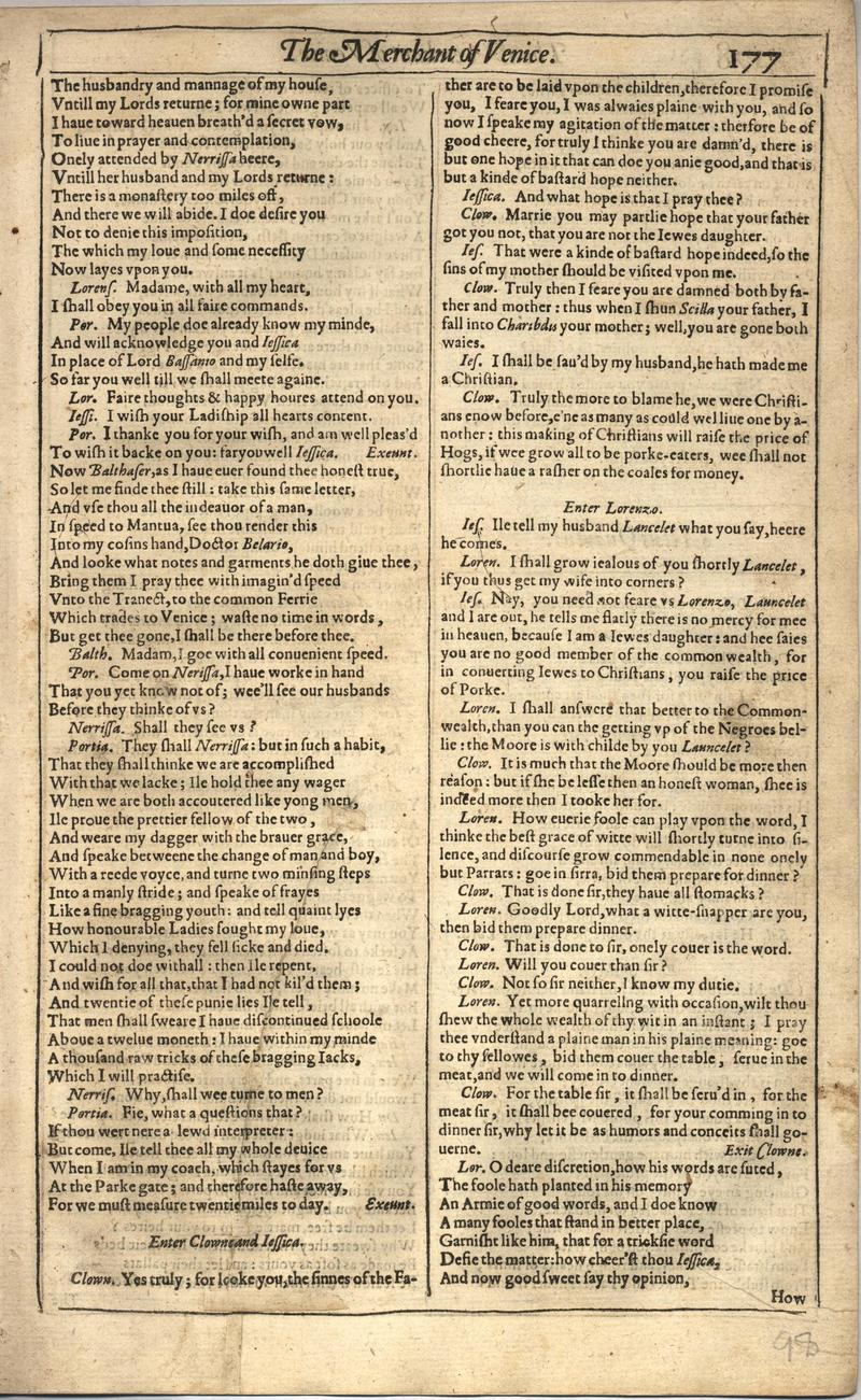 Image of First Folio (Brandeis University), page 195