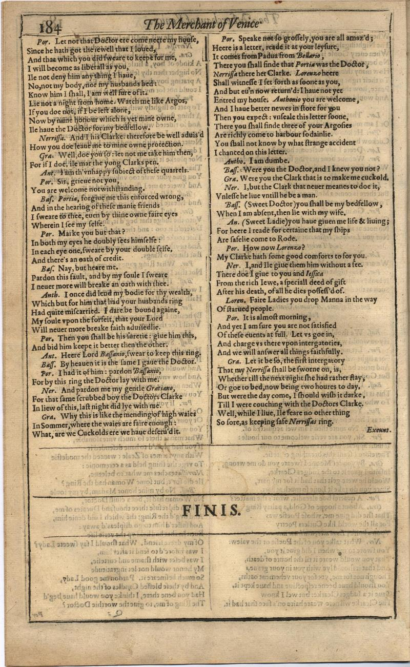 Image of First Folio (Brandeis University), page 202