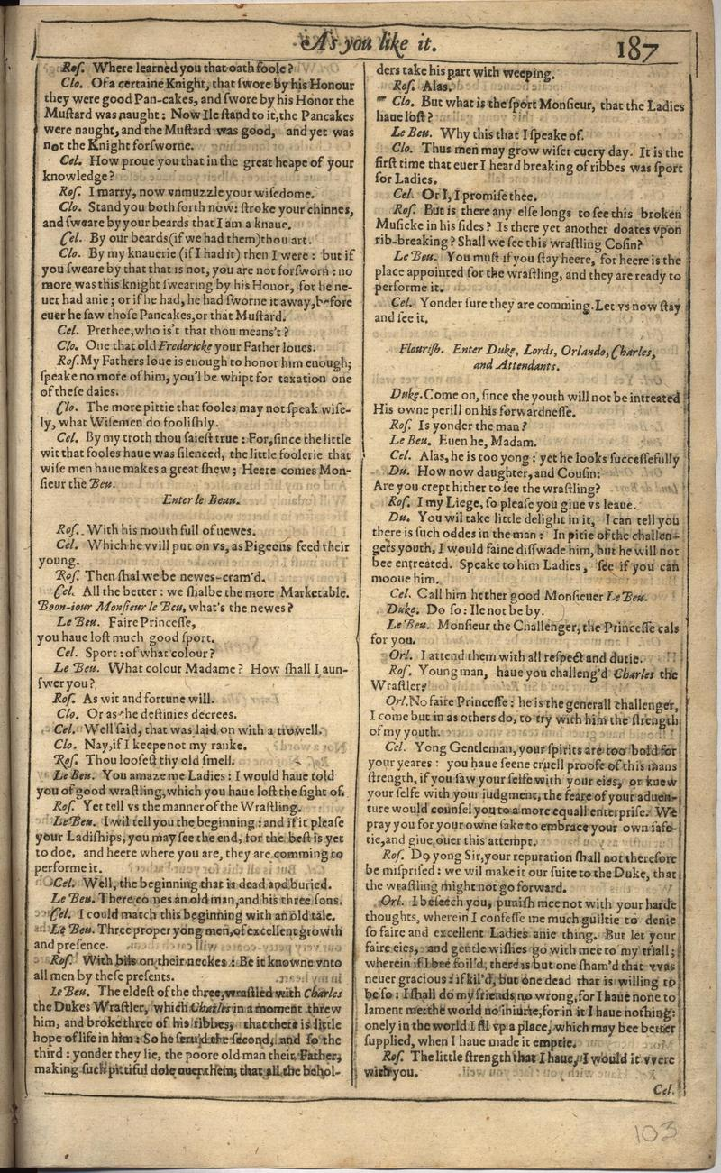 Image of First Folio (Brandeis University), page 205