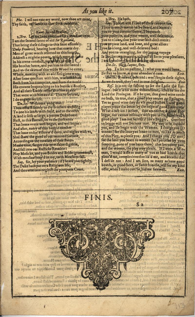 Image of First Folio (Brandeis University), page 225