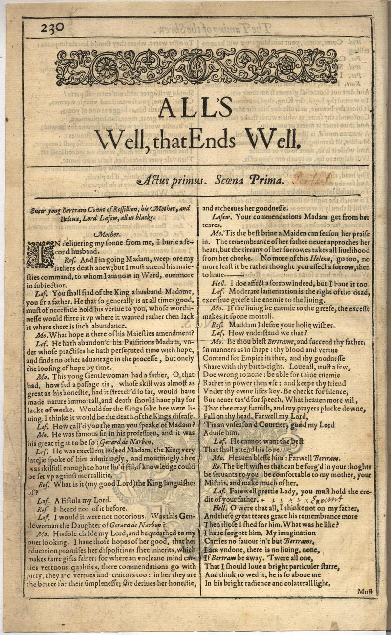 Image of First Folio (Brandeis University), page 248