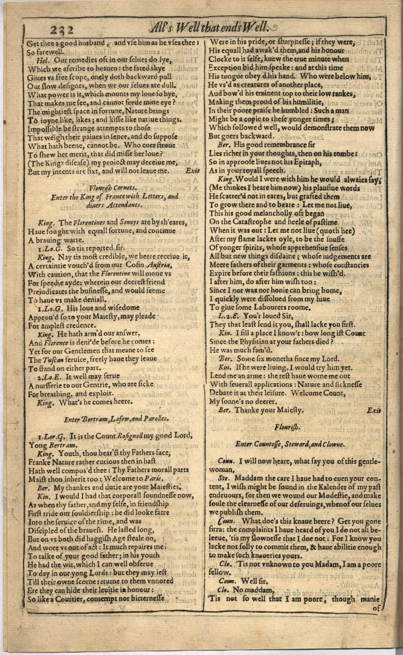Image of First Folio (Brandeis University), page