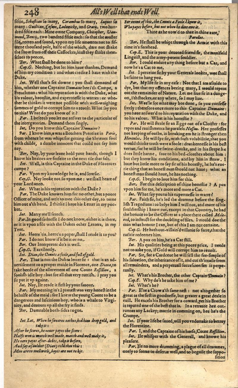 Image of First Folio (Brandeis University), page 266