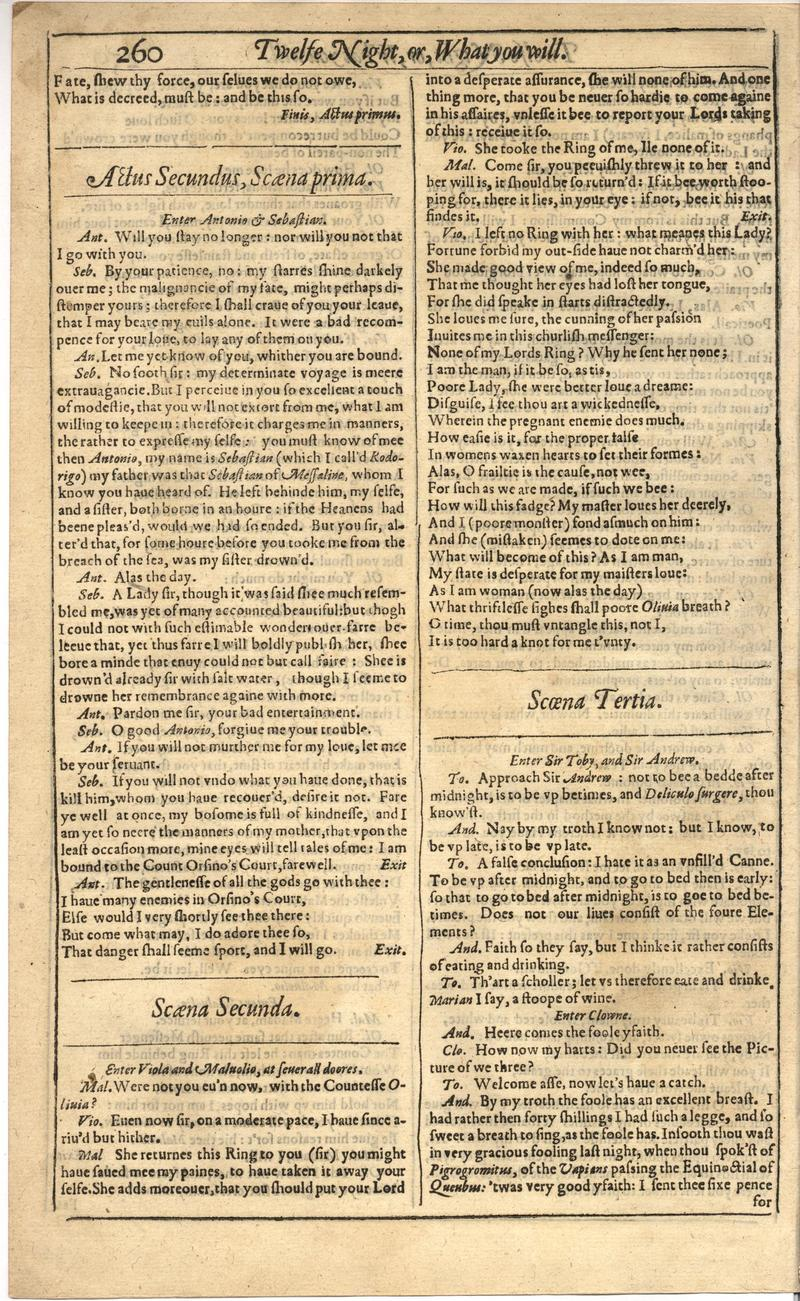 Image of First Folio (Brandeis University), page 278