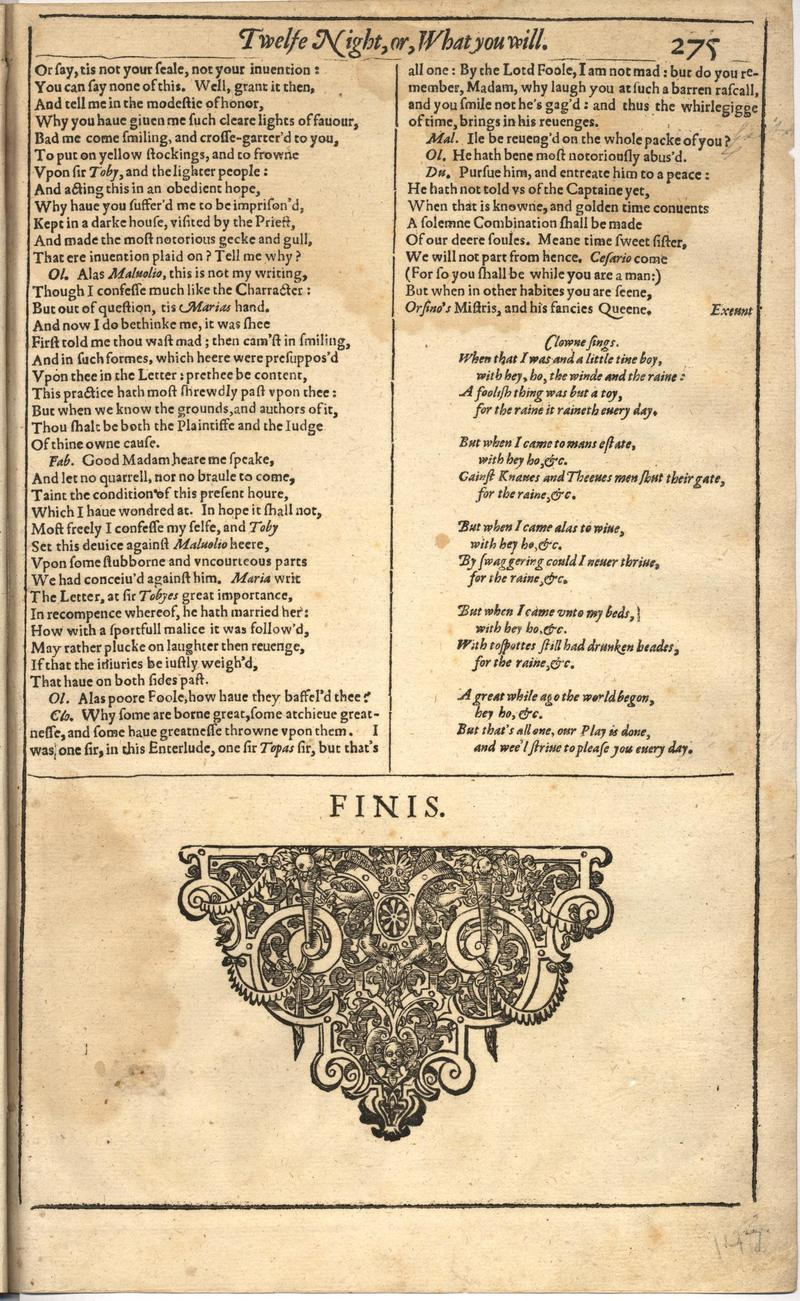 Image of First Folio (Brandeis University), page 293