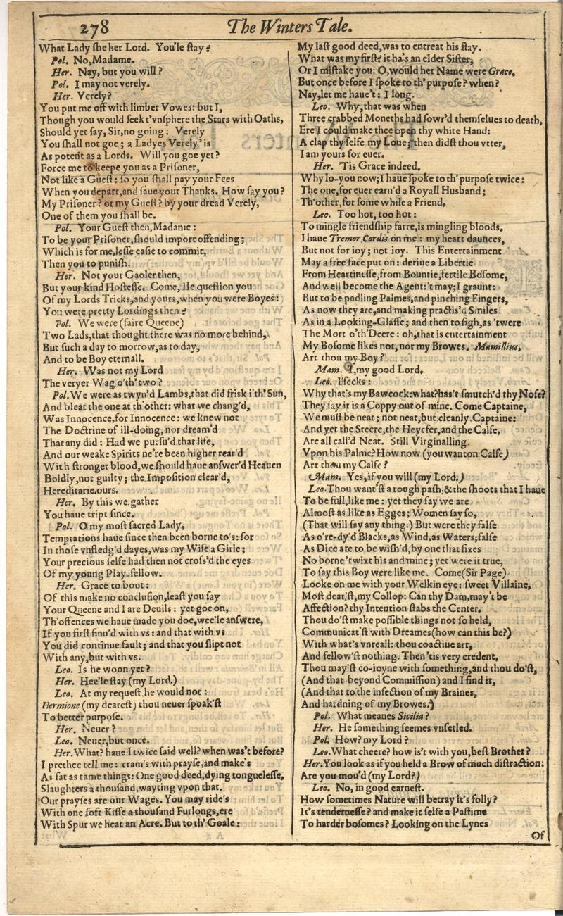 Image of First Folio (Brandeis University), page 296