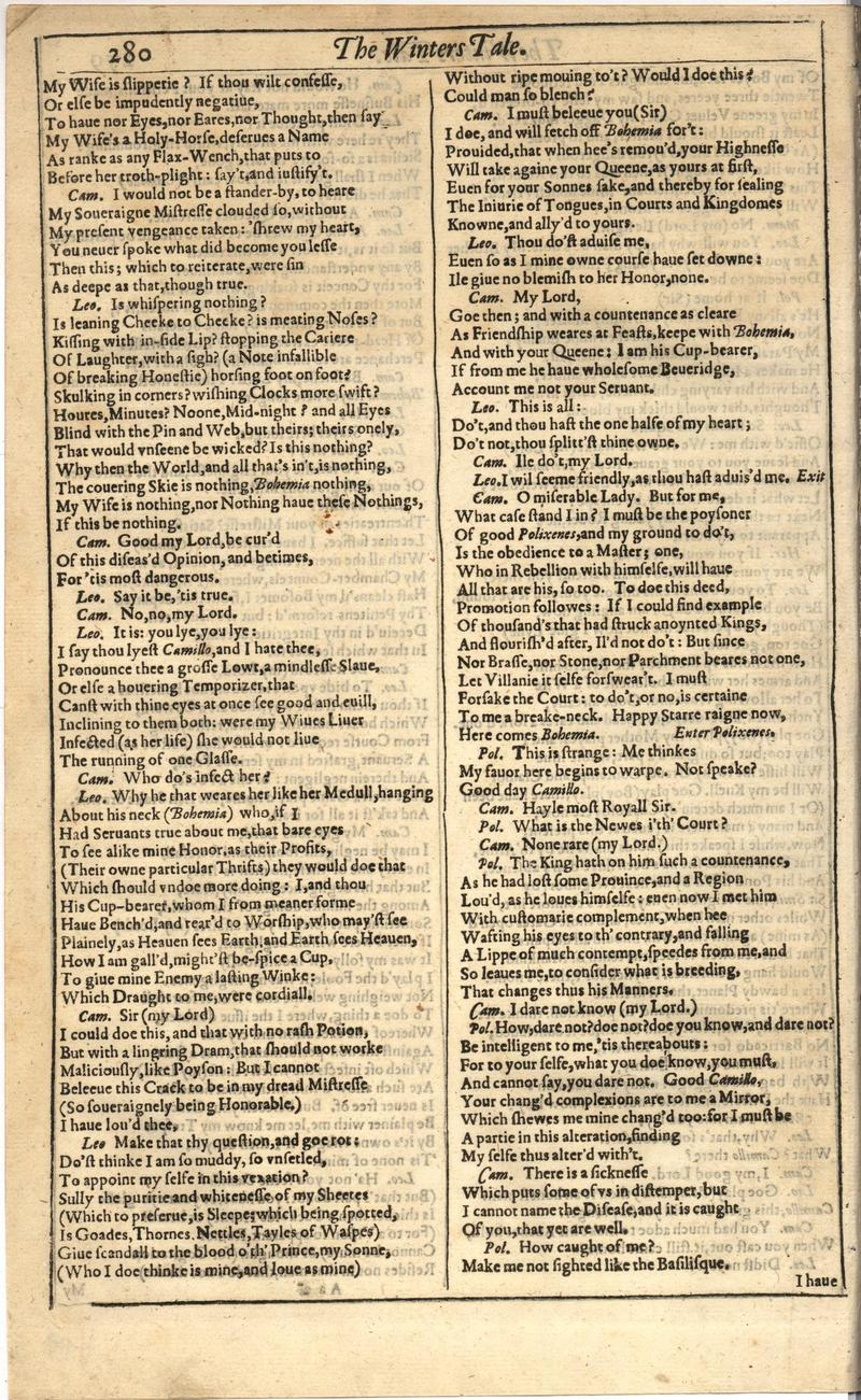 Image of First Folio (Brandeis University), page 298