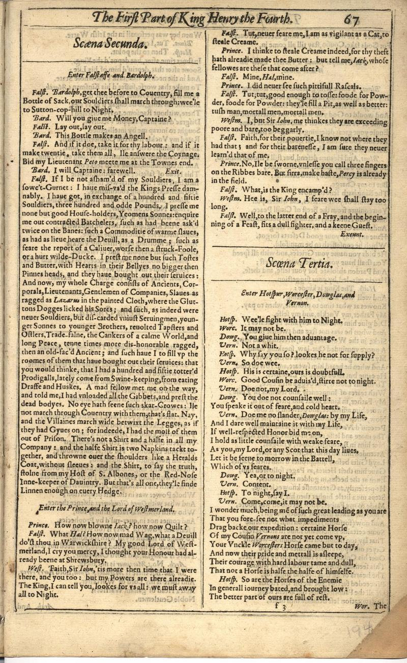 Image of First Folio (Brandeis University), page 387