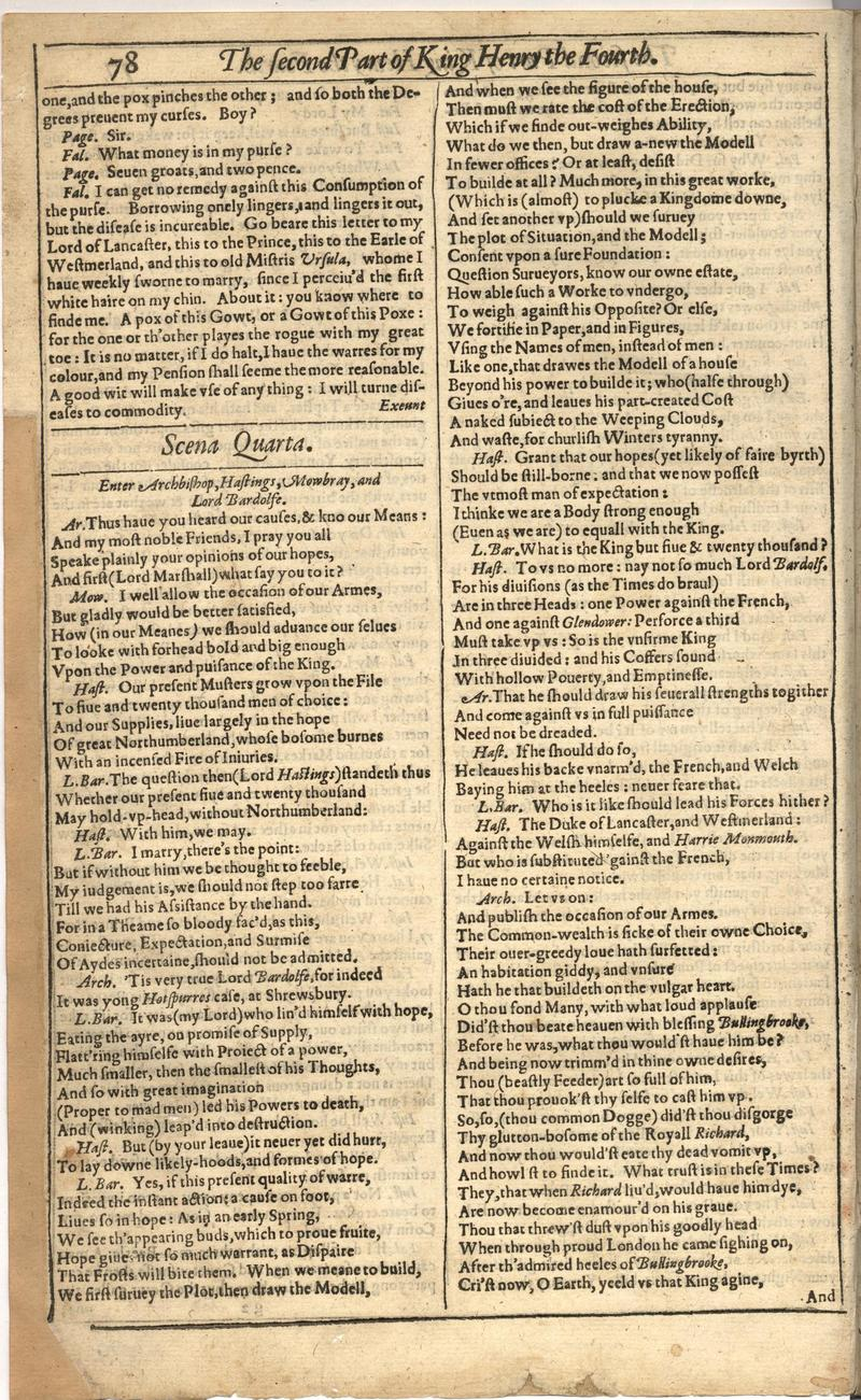 Image of First Folio (Brandeis University), page 398