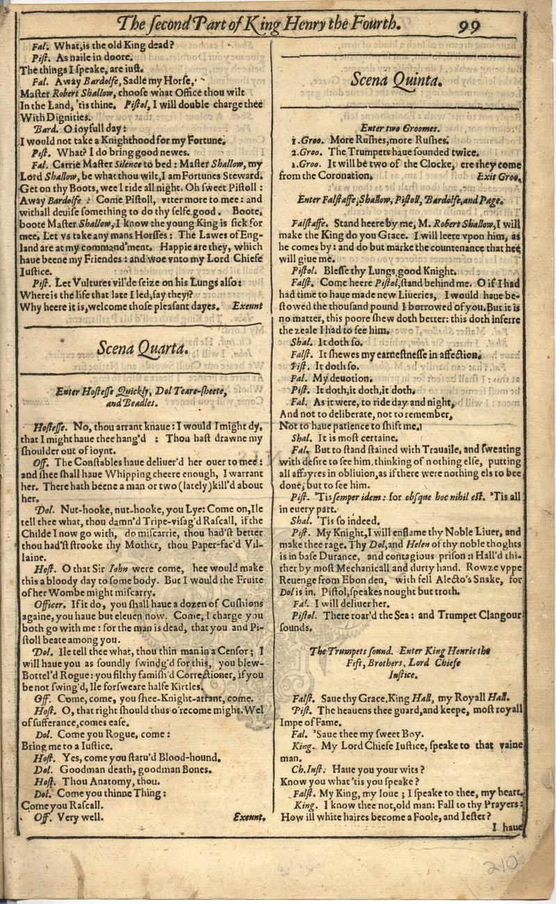 Image of First Folio (Brandeis University), page 419