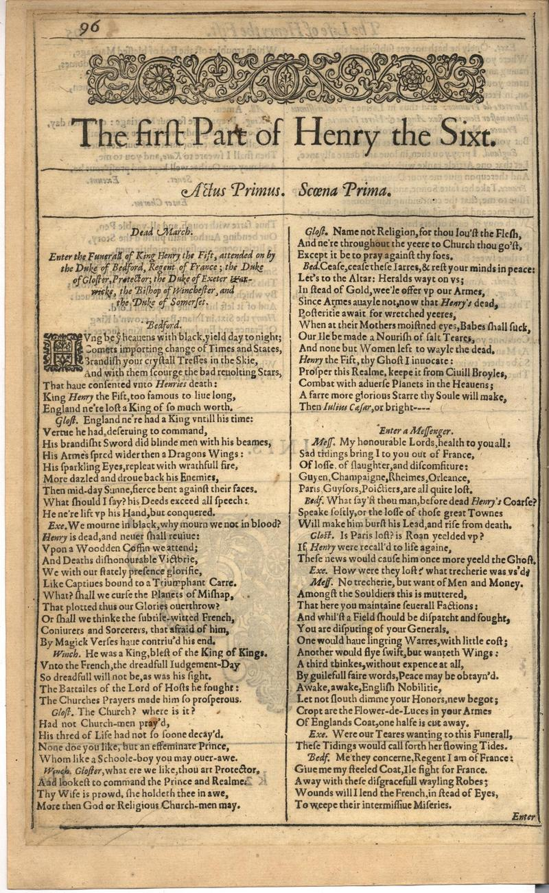 Image of First Folio (Brandeis University), page 450
