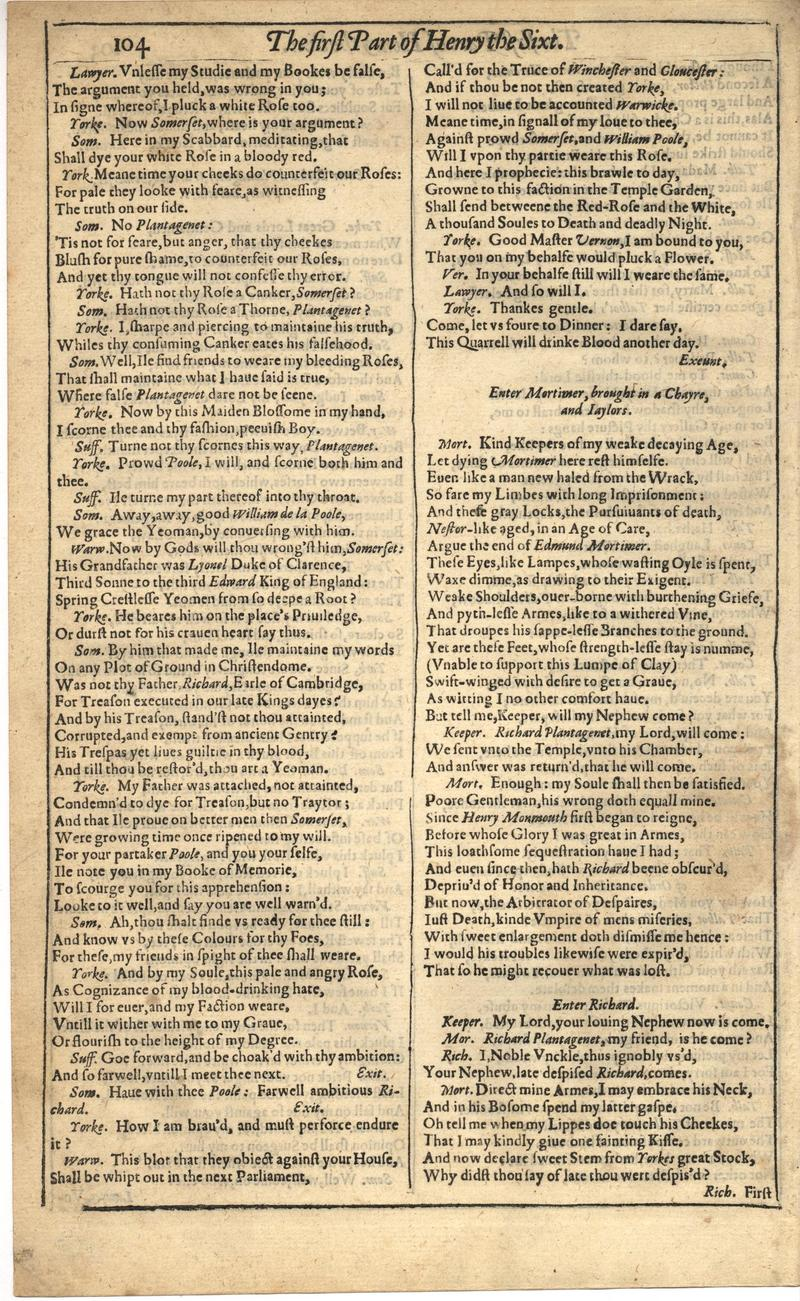 Image of First Folio (Brandeis University), page 458