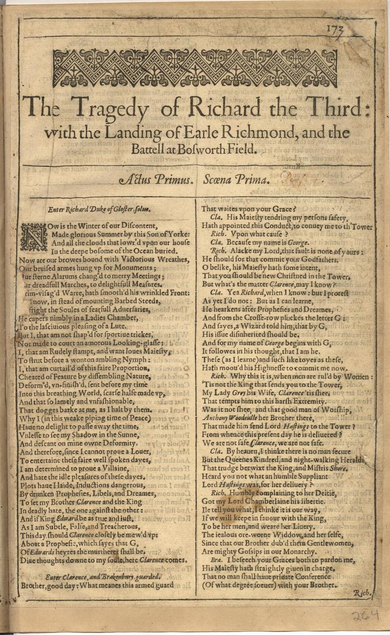 Image of First Folio (Brandeis University), page 527