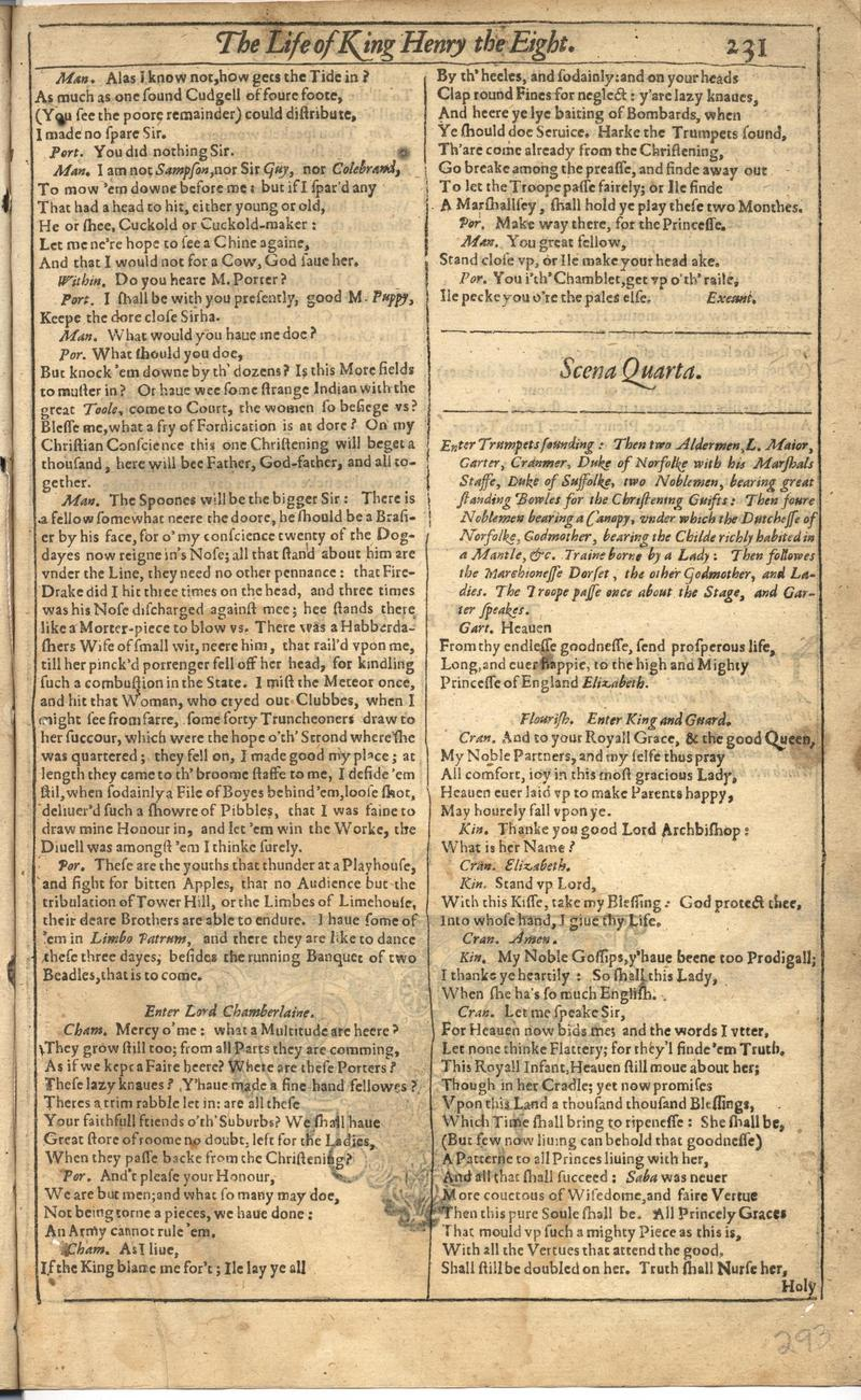 Image of First Folio (Brandeis University), page 585