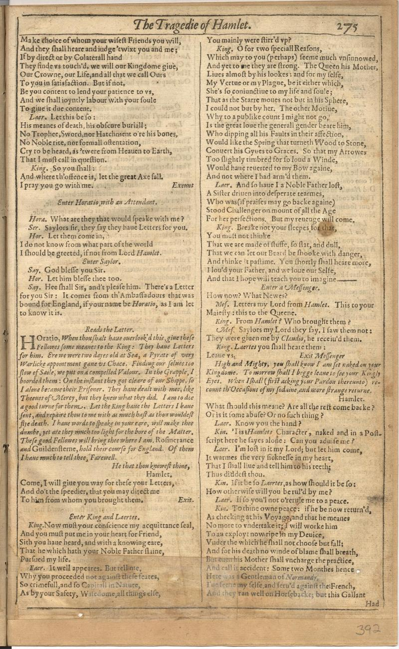 Image of First Folio (Brandeis University), page 783