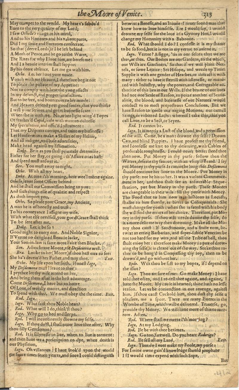 Image of First Folio (Brandeis University), page 823