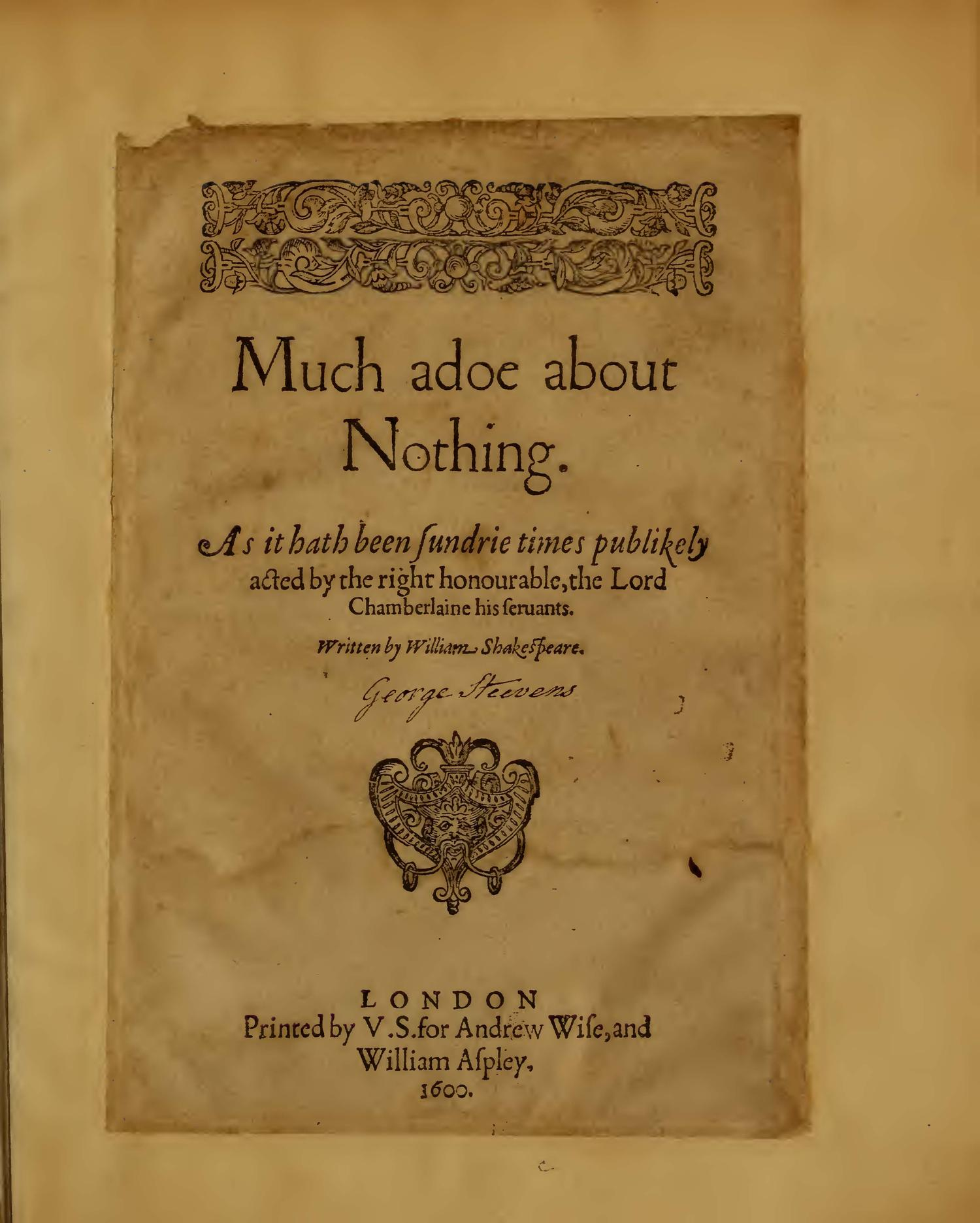 Image of Much Ado About Nothing, Quarto 1 (Boston Public Library), page 1