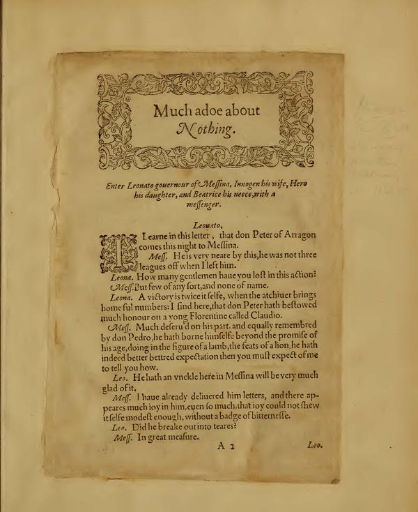 Image of Much Ado About Nothing, Quarto 1 (Boston Public Library), page 3