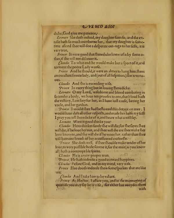 Image of Much Ado About Nothing, Quarto 1 (Boston Public Library), page