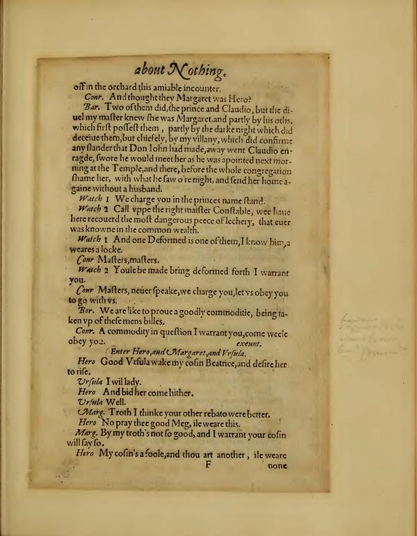 Image of Much Ado About Nothing, Quarto 1 (Boston Public Library), page 41