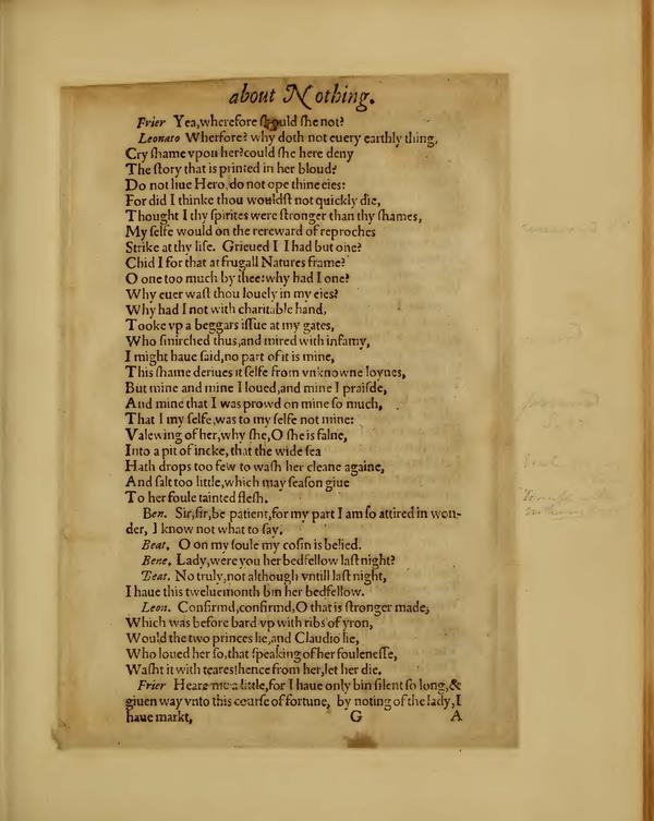 Image of Much Ado About Nothing, Quarto 1 (Boston Public Library), page 49