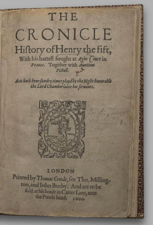 Image of Henry V, Quarto 1 (George III), page 1