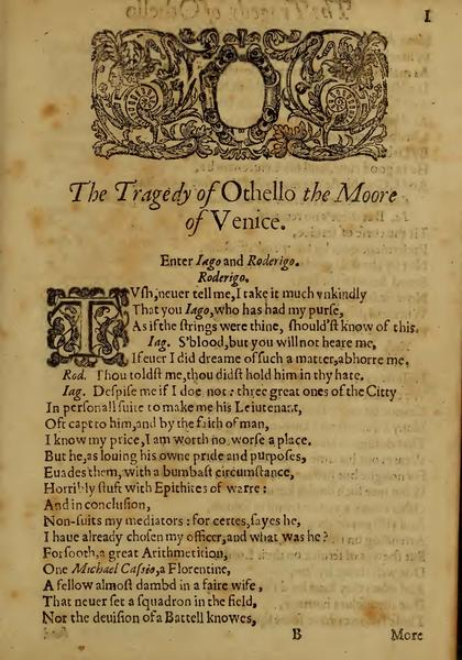 Image of Othello, Quarto 1 (Boston Public Library), page